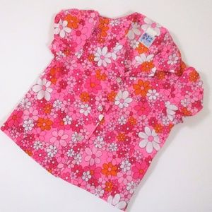 Vtg  12-18 month Girls Floral Shirt Pink Aloha